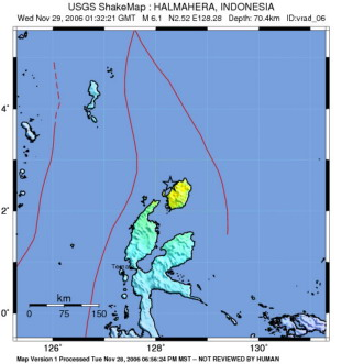 Intensitas Gempa Maluku Utara